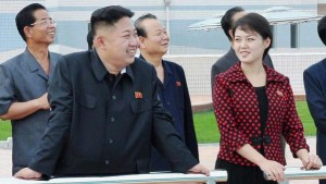 North Korean leader Kim Jong-Un and his wife, who was named by the state broadcaster as Ri Sol-ju, visit the Rungna People's Pleasure Ground, in Pyongyang