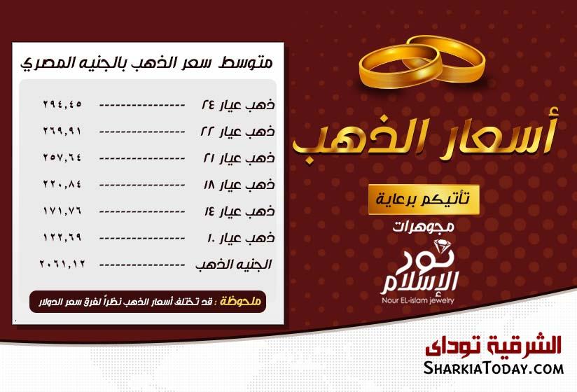 ارتفاع أسعار الذهب اليوم في مصر