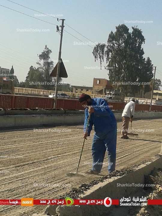 استمرار  الأعمال النهائية بكوبري صفط القناطر  بطريق «أبوحماد الزقازيق» (4)