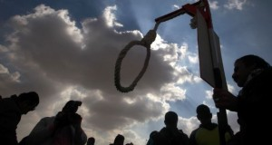 An anti-Mubarak protester holds a noose outside the police academy where former Egyptian President Hosni Mubarak is on trial in Cairo January 19, 2012. REUTERS/Suhaib Salem (EGYPT - Tags: POLITICS CIVIL UNREST)