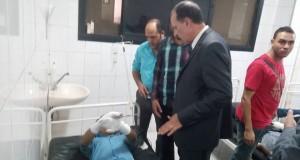 المصابون في واقعة احتراق بوابة الأمن الإداري بجامعة الزقازيق