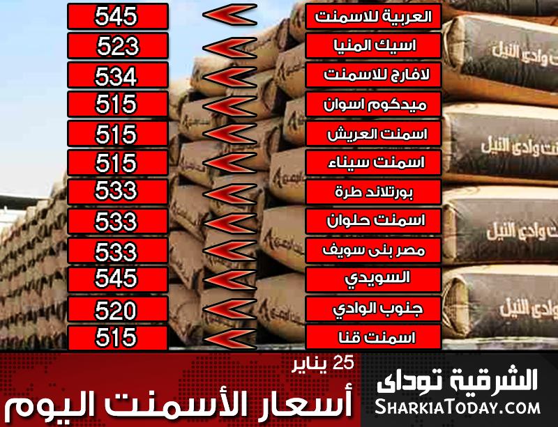 أسعار الأسمنت اليوم في مصر الشرقية توداي
