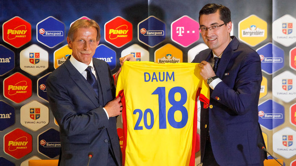 German Christoph Daum (L) is presented with a jersey by Razvan Burleanu, president of the Romanian Football Federation, as he takes over as the new manager of the Romanian national football team, Bucharest, Romania, July 7, 2016. Inquam Photos/George Calin/via REUTERS ATTENTION EDITORS - THIS IMAGE WAS PROVIDED BY A THIRD PARTY. ROMANIA OUT. NO COMMERCIAL OR EDITORIAL SALES IN ROMANIA.
