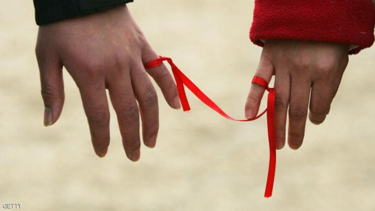 BEIJING, CHINA - FEBRUARY 14: Chinese lovers tie a red ribbon to their little fingers, symbolizing eternal love for one another on Valentine's Day, February 14, 2005 in Beijing, China. The Chinese are becoming increasingly open to western festivals after more than two decades of economic reforms. (Photo by Andrew Wong/Getty Images)