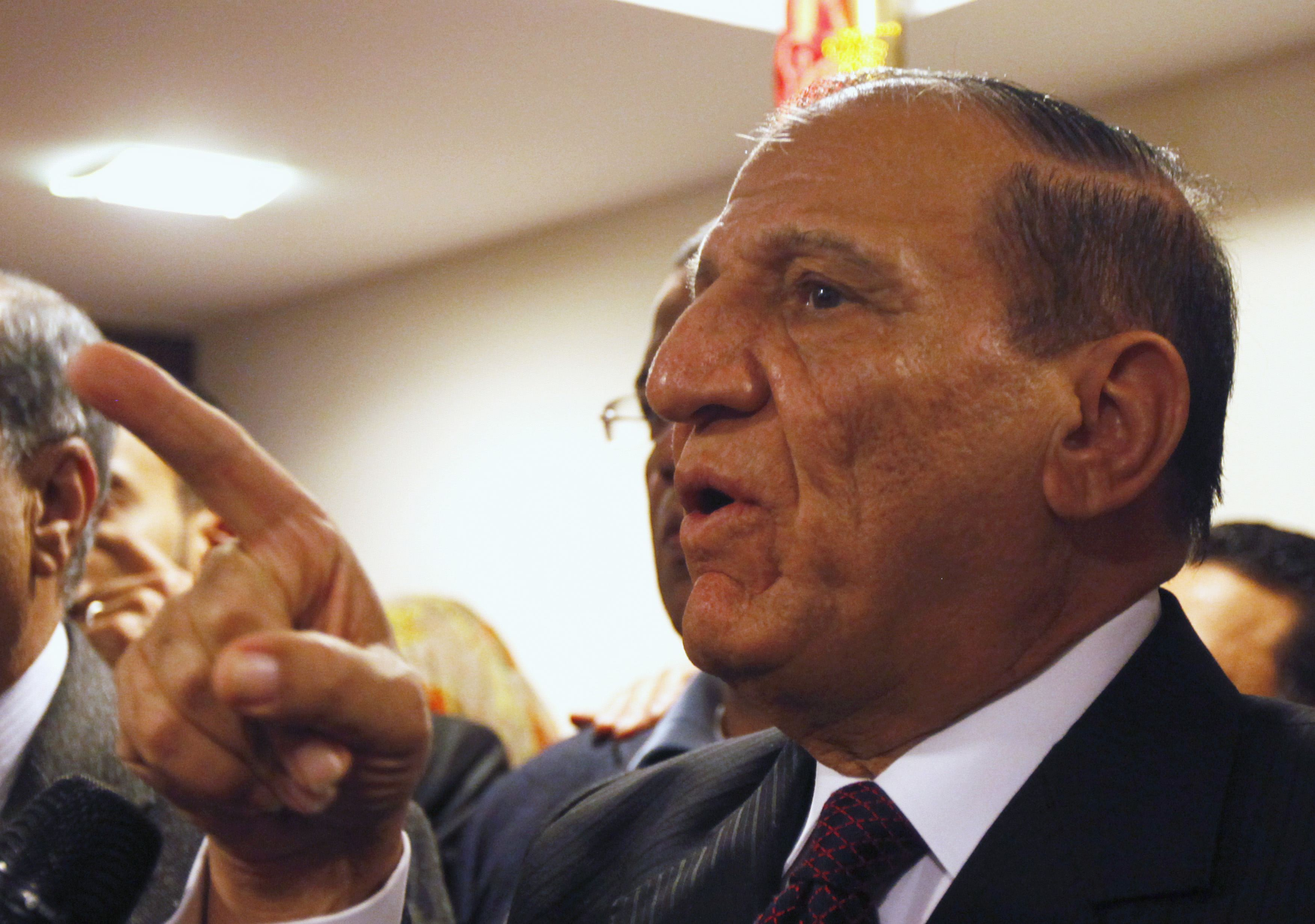 Egypt's former army chief of staff Sami Anan, speaks during news conference at his office in Cairo