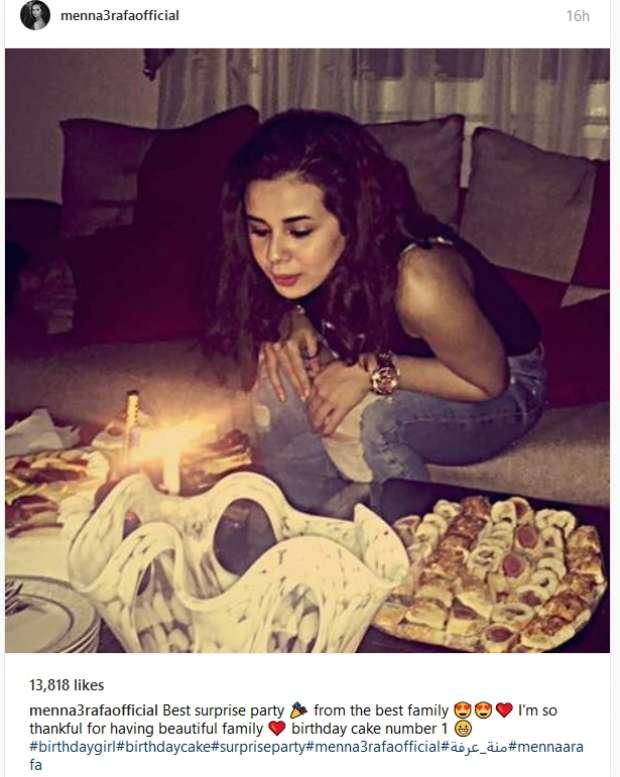 احتفلت منة عرفة بعيد ميلادها الـ18