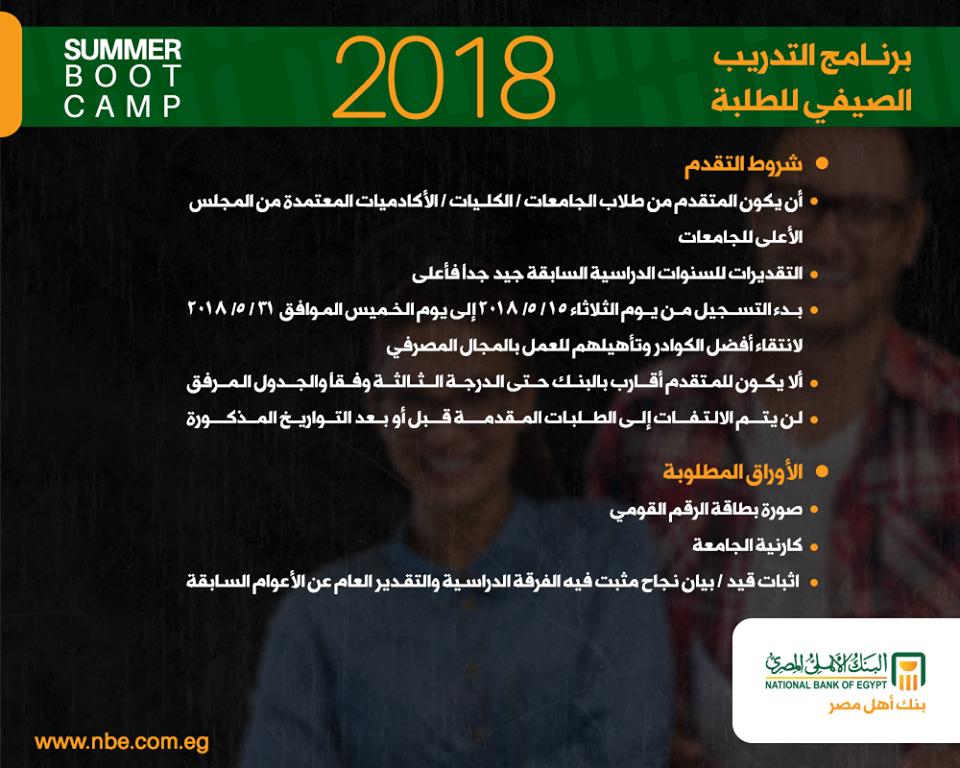التدريب الصيفي بالبنك الأهلي المصري للطلبة 2018