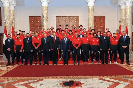 الرئيس السيسي ومنتخب مصر 2018