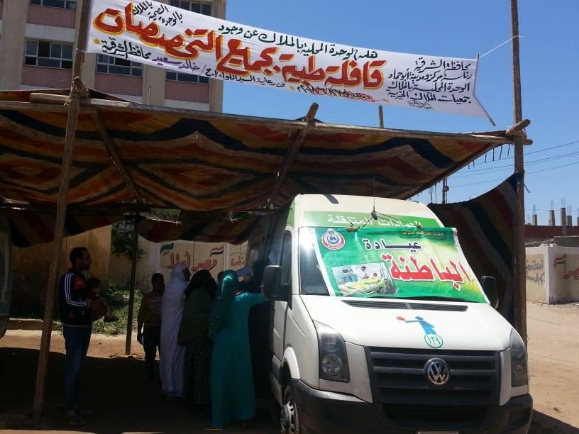 توقيع الكشف الطبي المجاني علي ١٤٧٢ مريض خلال قافلة طبية بقرية الملاك مركز أبوحماد