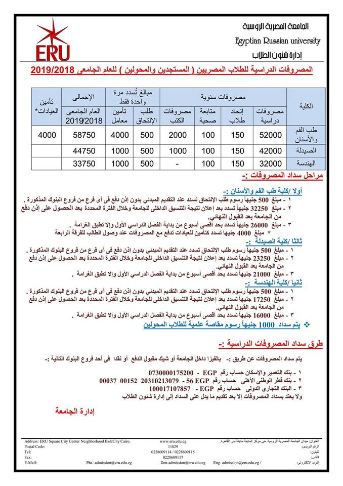 مصاريف الجامعة المصرية الروسية للعام الدراسي الجديد 2019,2018