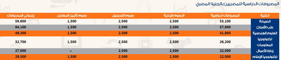 مصروفات جامعة سيناء للعام الدراسي