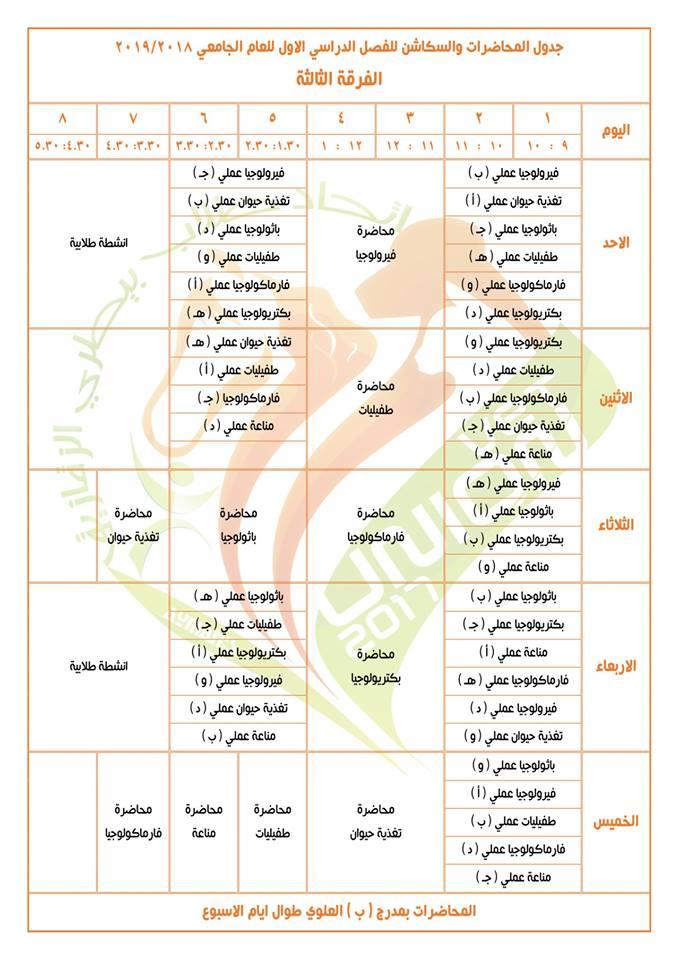 جدول محاضرات وسكاشن الفصل الدراسي الأول للفرقة الثالثة كلية طب بيطري
