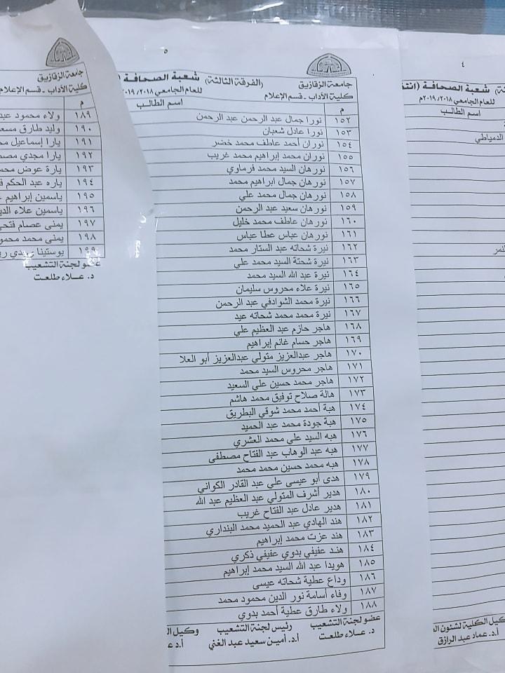 كشوفات التشعيب للفرقة الثالثة كلية آداب إعلام جامعة الزقازيق