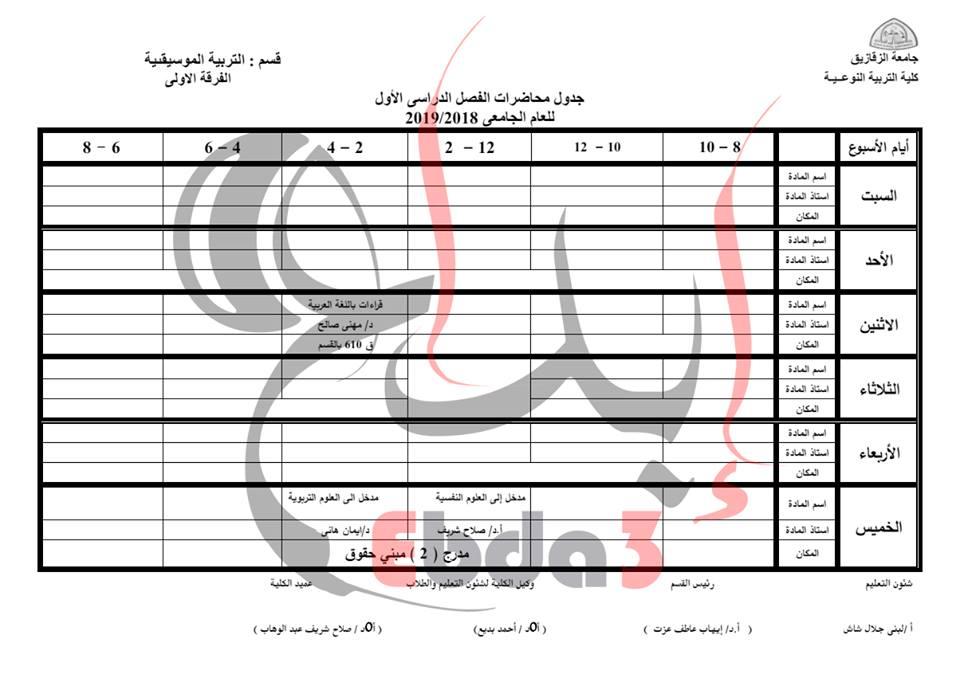 جدول محاضرات كلية تربية نوعية جامعة الزقازيق