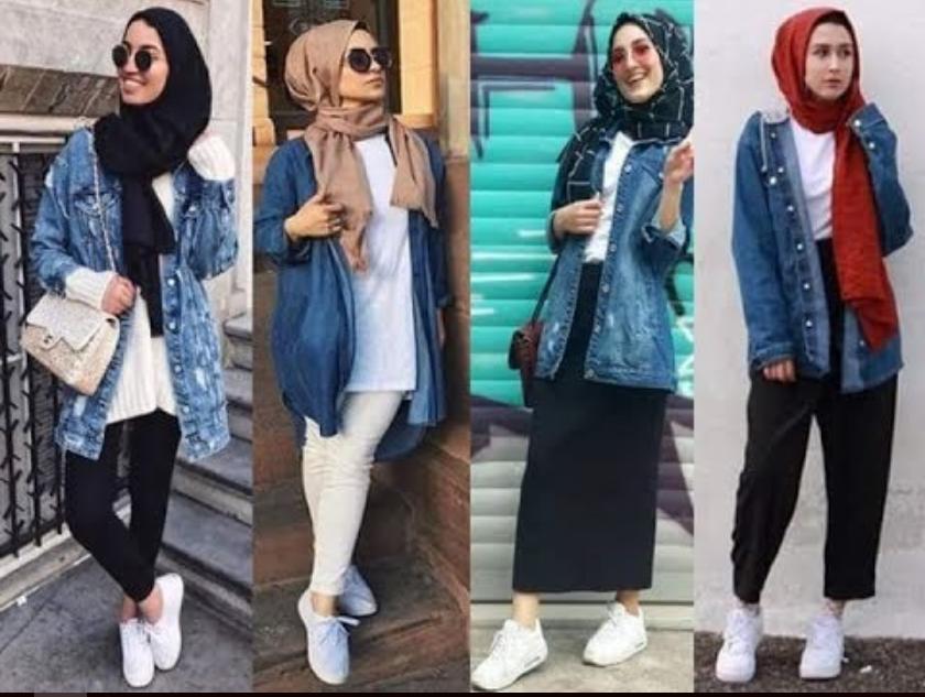 5c66ee963 100 طريقة مختلفة لارتداء الجاكيت الجينز للمحجبات موضة 2019   الشرقية ...