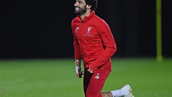 محمد صلاح خلال تدريبات ليفربول