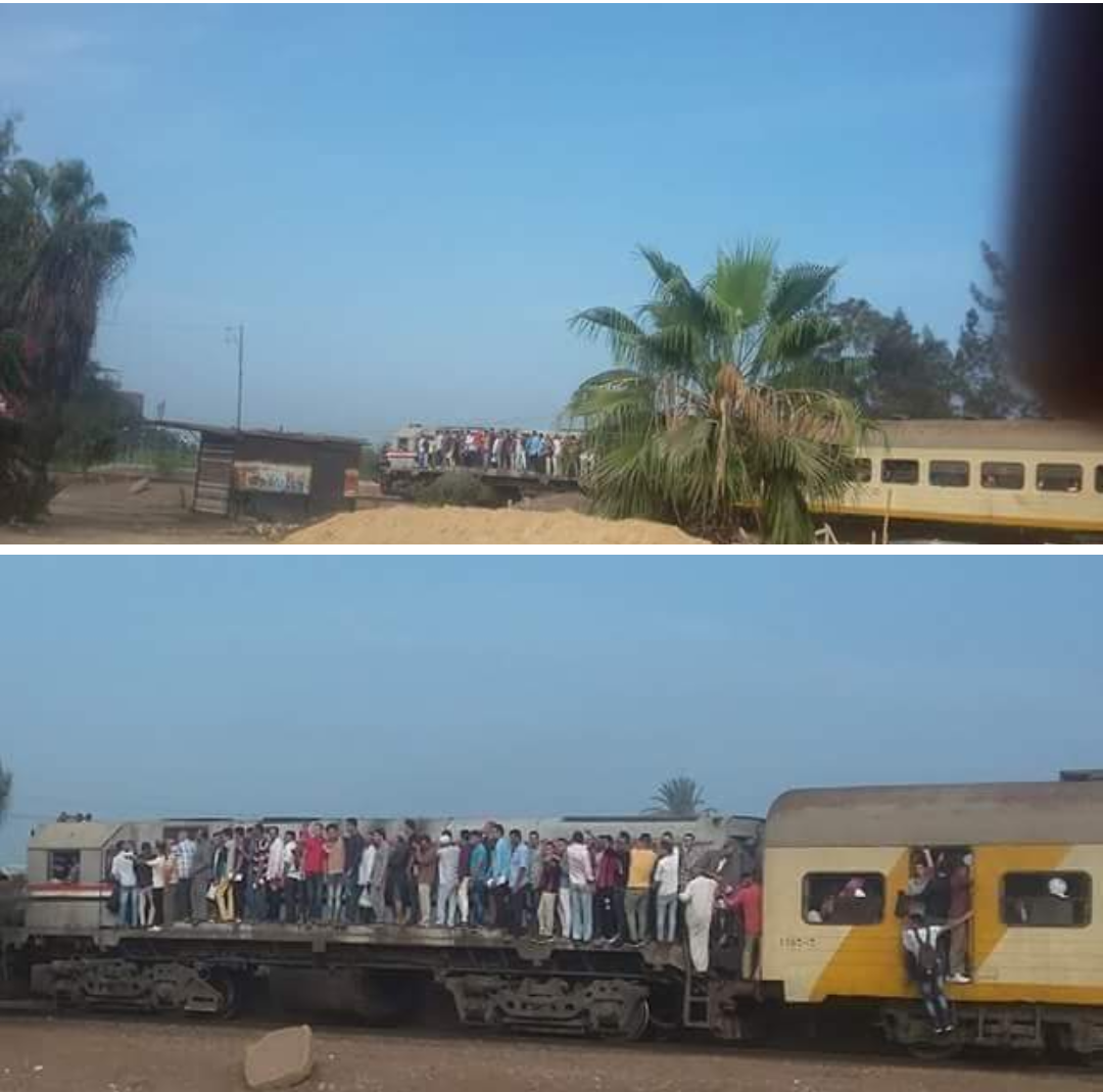 حالات إغماء ودهس سيدات وشباب معرضه للموت في قطار فاقوس الزقازيق بسبب الإزدحام