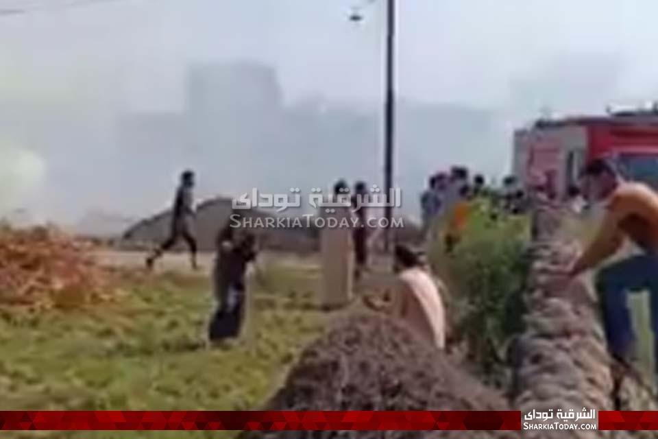 حريق هائل في قش أرز بأبوكبير 9