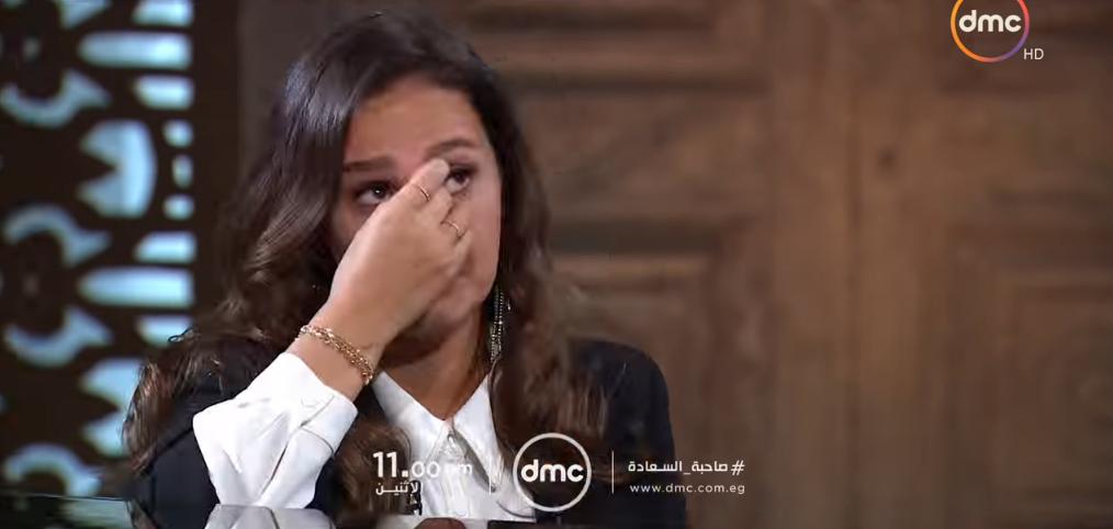 حلا شيحة تبكي في أول ظهور تليفزيوني