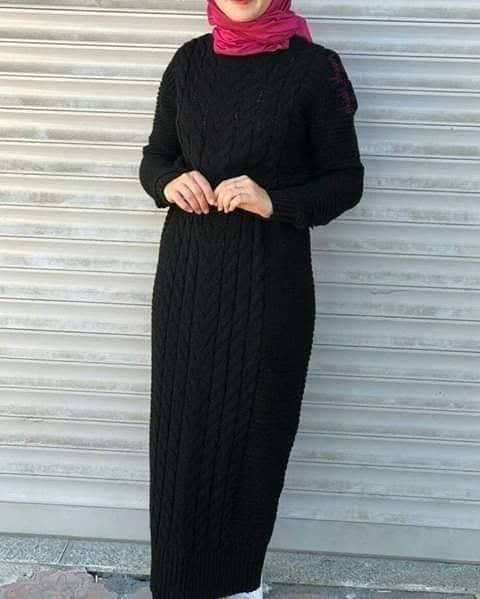 فستان أسود موضة شتاء
