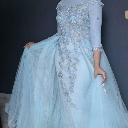 فستان بيبي بلو للمحجبات موضة شتاء 2019