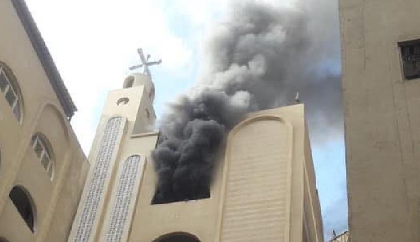 حريق في كنيسة القديسة دميانة بالهرم