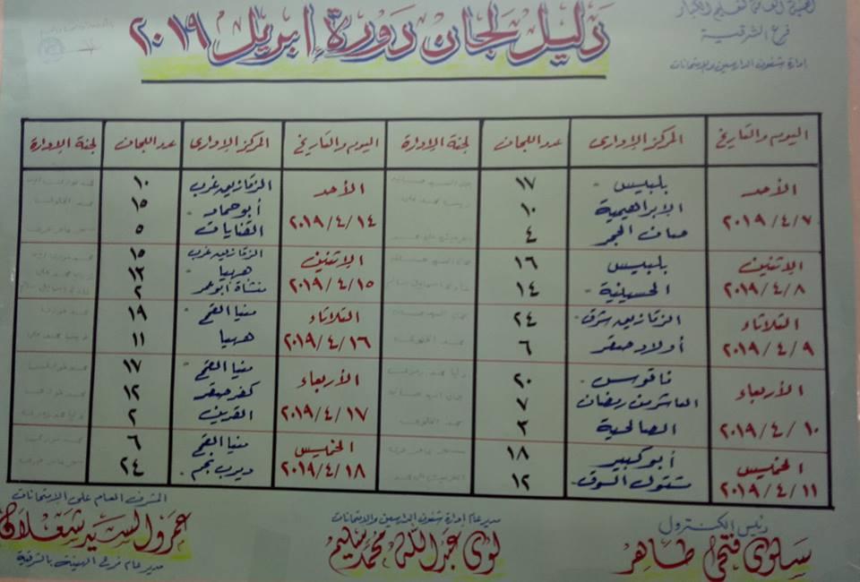 جدول امتحانات محو الأمية دورة أبريل 2019 بمحافظة الشرقية