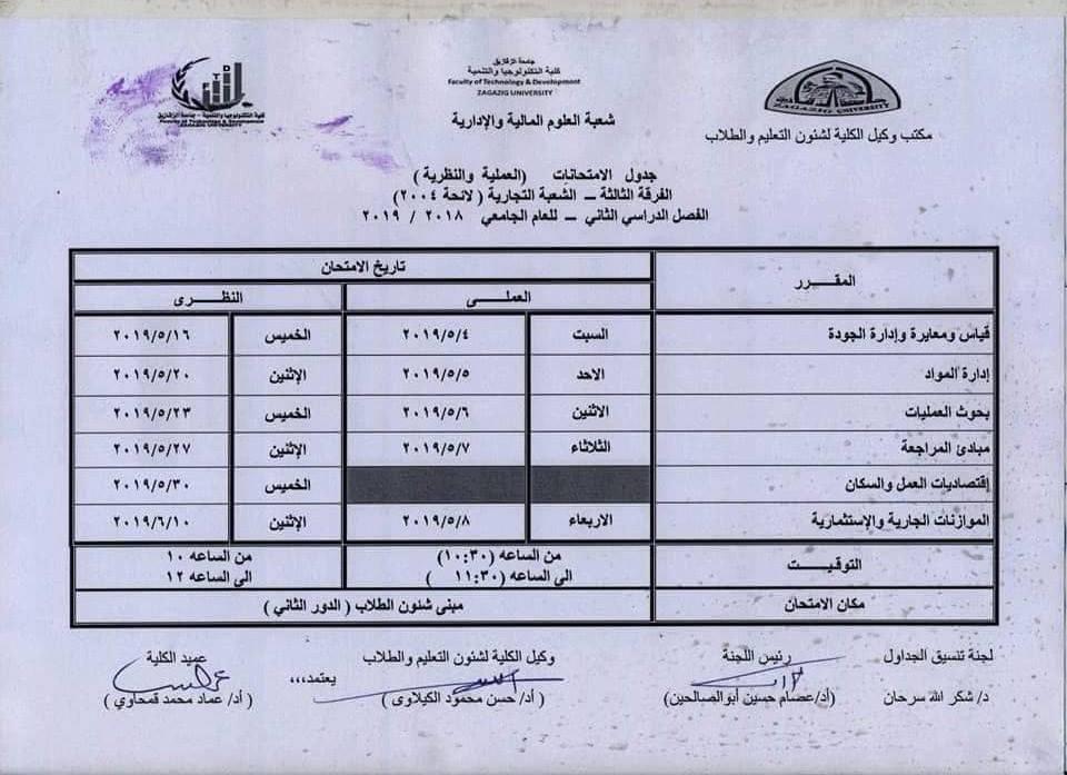 جدول امتحانات كلية تكنولوجيا الزقازيق